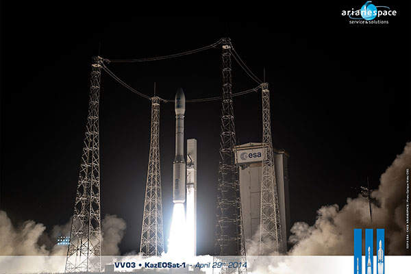 KazEOSat-1 satellite was launched into the Sun-synchronous orbit in April 2014. Image courtesy of Arianespace.