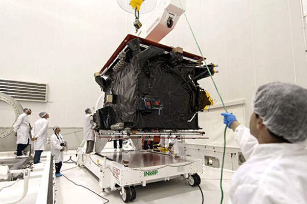 The prelaunch operations of the satellite were conducted at Spaceport's S5C preparation hall.
