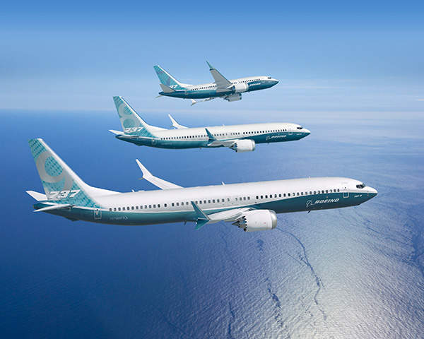 The Boeing 737 MAX family of aircraft is produced in three variants, namely 737 MAX 7, 737 MAX 8 and 737 MAX 9. Image courtesy of Boeing.