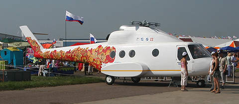 Russian Mil helicopter painted in Khokholma as seen at the 2007 MAKS air show.