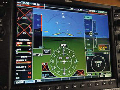 The cockpit is equipped with one G1000 primary flight display (PFD) system. An additional G1000 multifunction display (MFD) system is also part of the cockpit.