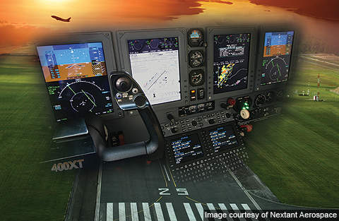 Graphic image of the 400XT's flight control and information systems.