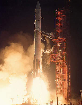 The Optus 10 communication satellite was launched on Ariane 5 rocket launcher.