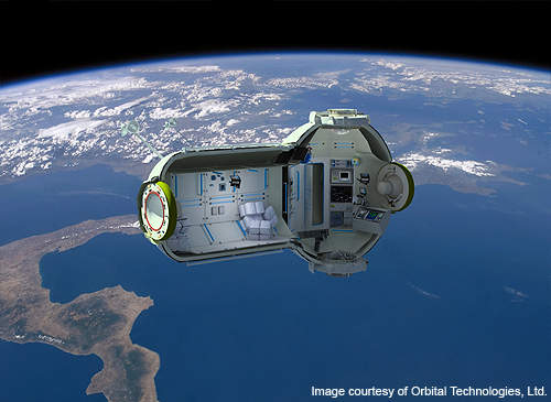 Cross-sectional view of the space station.