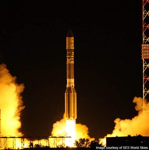 It was co-launched with the KazSat-2 atop the Proton M Briz M vehicle along from Baikonur Cosmodrome site 200/39, Kazakhstan.