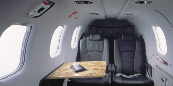 The standard TBM 850 configuration consists of four seats and a two-piece rear bench seat (four forward and two facing aft).