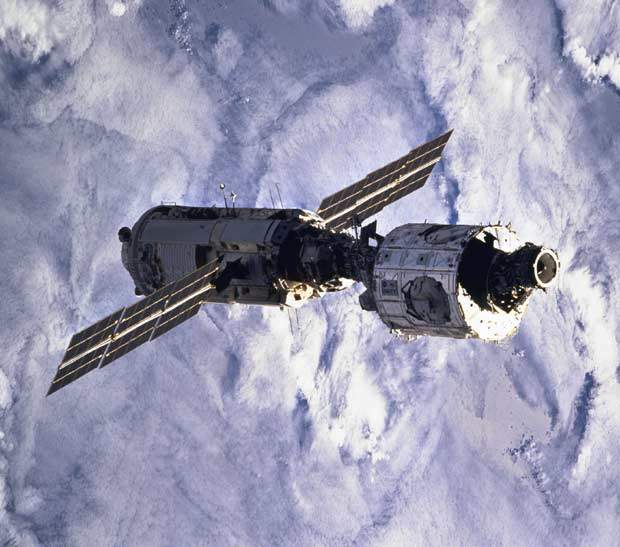 The Zarya and Unity modules, shortly after having been joined and released from Endeavour.