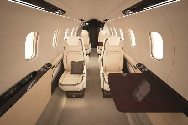 The Learjet 75 features a comfortable cabin with executive seating for up to eight passengers.