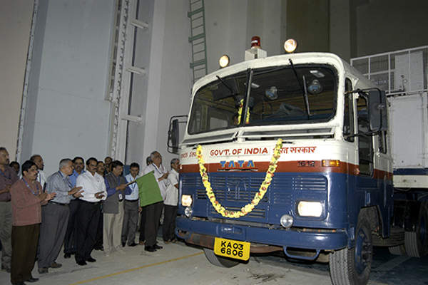 The MOM spacecraft was transported to Satish Dhawan Space Centre SHAR for carrying out launch operations. Image courtesy of ISRO.