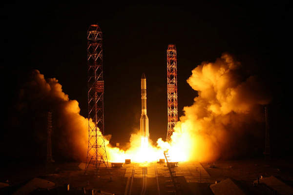 Satmex 8 was launched into geostationary transfer orbit in March 2013. Image courtesy of Khrunichev.