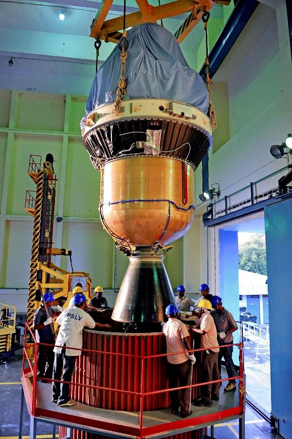 The IRNSS-1D was integrated with the PSLV-27 rocket. Image: courtesy of ISRO.