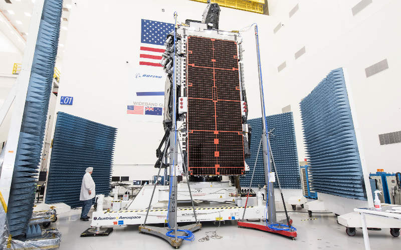 The satellite has two solar wings, each with four panels of ultra triple-junction gallium arsenide solar cells. Image: courtesy of Intelsat.