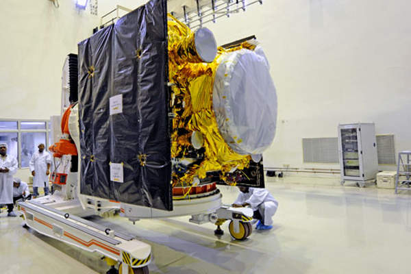 The satellite underwent final tests before the launch at Satish Dhawan Space Centre SHAR. Image courtesy of ISRO.