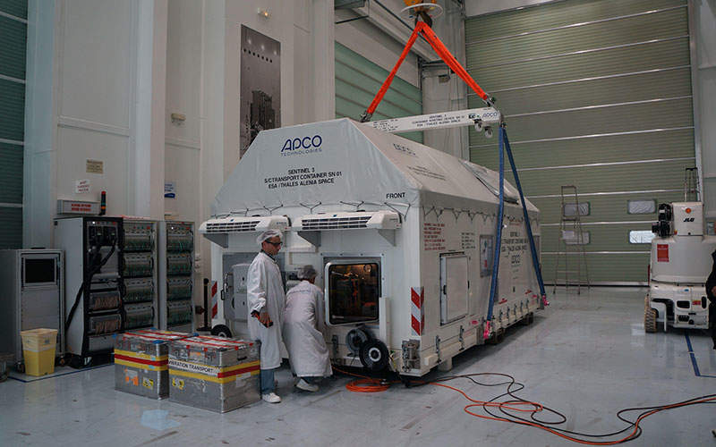 Sentinel-3A was transported to the launch site in November 2015. Image: courtesy of ESA–J.F. Flamand.