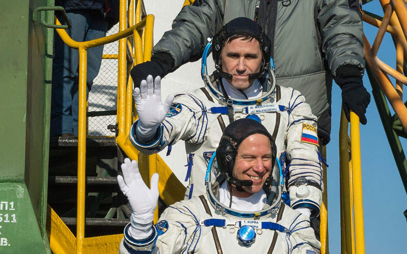 The spacecraft carried three members of the 46th expedition to the International Space Station (ISS).