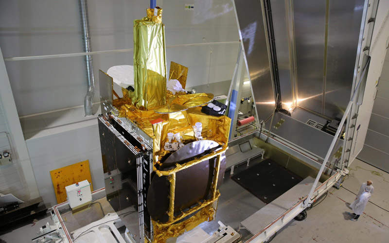 EDRS-A satellite integrated with Eutelsat-9B in the Airbus Defence and Space facilities in Toulouse, France. Image: courtesy of Airbus Defence and Space SAS.