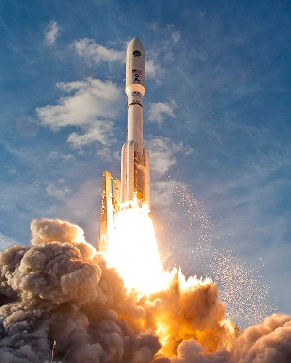 United launch Alliance's Atlas V rocket launching the first MUOS satellite in February 2012.