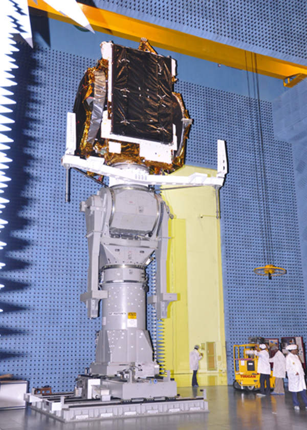 ISRO, the Indian Space Research Organisation, designed, assembled and integrated the GSAT-10 in Bangalore. Image courtesy of ISRO.