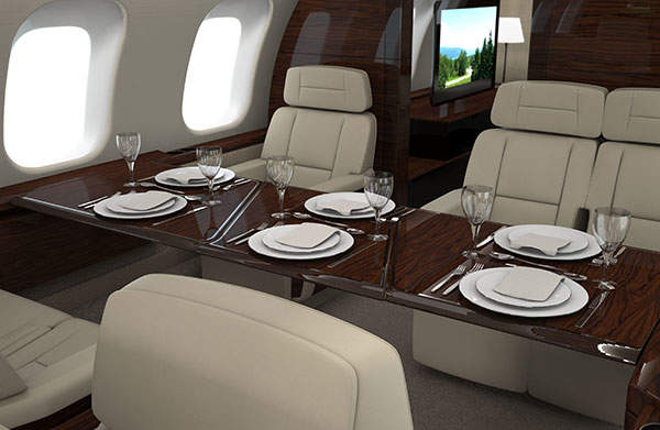 The interior of the Global 8000 aircraft cabin. Image courtesy of Bombardier / BBA Press.