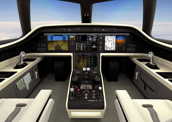 Legacy 450 features the Pro Line Fusion avionics suite developed by Rockwell Collins. Image courtesy of Embraer Executive Jets.
