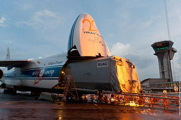 The satellite was shipped to the launch site in April 2014. Image courtesy of MEASAT Satellite Systems.