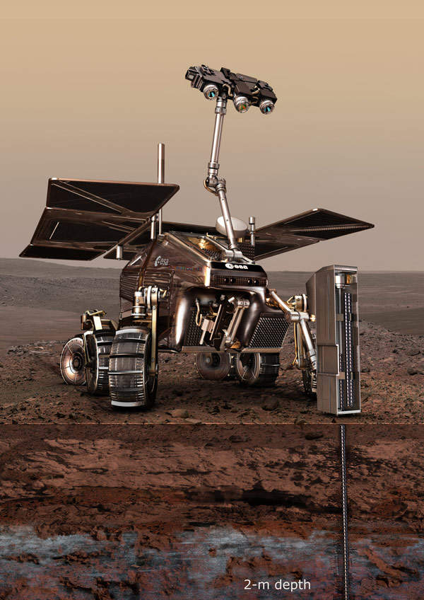 The ExoMars rover will collect samples from Mars by drilling up to two metres in depth. Image courtesy of ESA - AOES Medialab.
