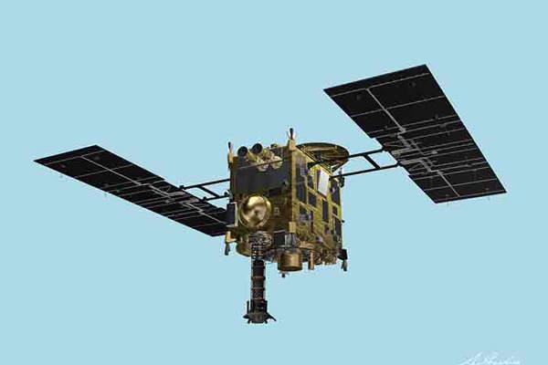 The Hayabusa 2 spacecraft includes Ka-band communication subsystem. Image courtesy of Japan Aerospace Exploration Agency.