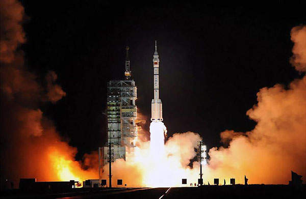 Launching of the Shenzhou-7 from the Jiuquan Satellite Launch Center in China, in September 2008.