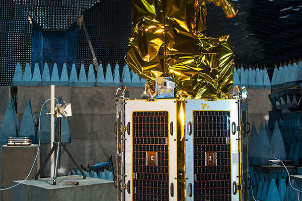One of the SSTL 300 S1 satellites undergoing testing. Image: courtesy of SSTL.