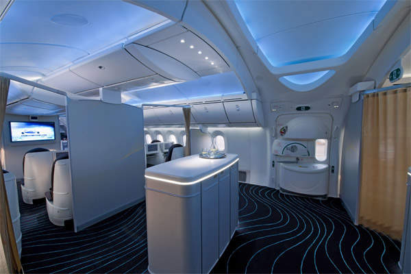 The 787 Dreamliner cabin features a 'simulated sky' ceiling effect produced by arrays of light-emitting diodes (LEDs) . Image courtesy of Boeing.
