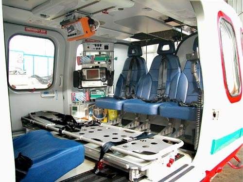 The air ambulance interior of the AW139. The AW139 has been selected by five governments in the air ambulance and search and rescue role.