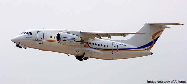 The An-148 is a high-wing monoplane with turbofan jet engines mounted in pods under the wing.