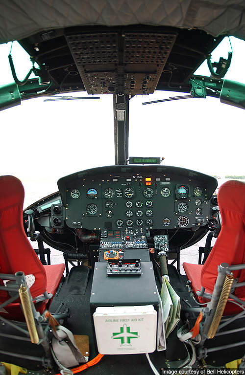 Cockpit of Bell 210.
