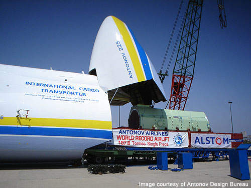 An-225 broke the world record by carrying 187.5t of single piece.
