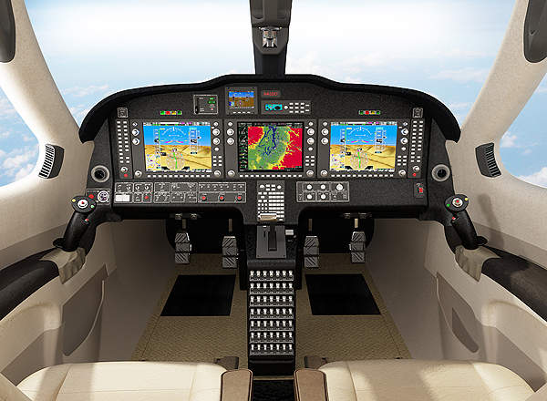 The Stratos 714 features a glass cockpit integrated with two primary flight displays and a single multifunctional display. Image courtesy of Stratos Aircraft.