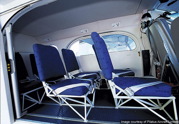 PC-6 seats with air bag seat belts.