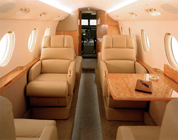 The Gulfstream G150 forward interior – the interior design styles are based on the operator's selection of leathers, upholstery fabrics, wood finishes and floor coverings.