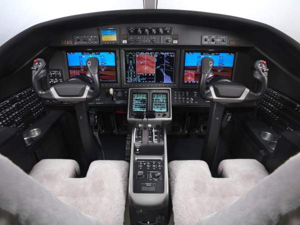 The cockpit avionics include three LCD displays and two touch screen control panels. Image courtesy of the Cessna Aircraft Company.