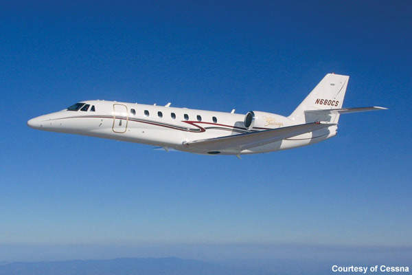 The Cessna Citation Sovereign is a corporate intercontinental aircraft capable of carrying up to 12 passengers and two pilots at speeds of up to 848km/h.
