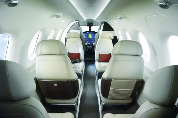 The Phenom 300 cabin interior designed by BMW Group DesignworksUSA.