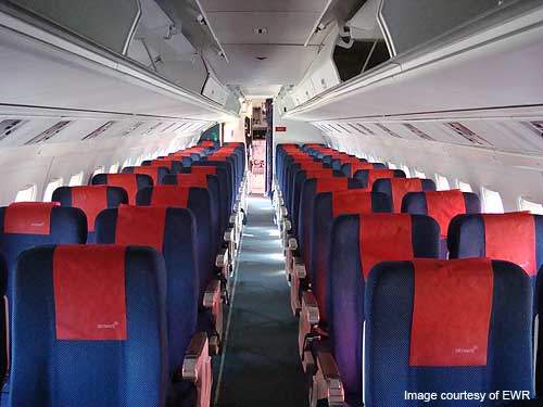 Cabin interiors of the Fokker F-50 aircraft.