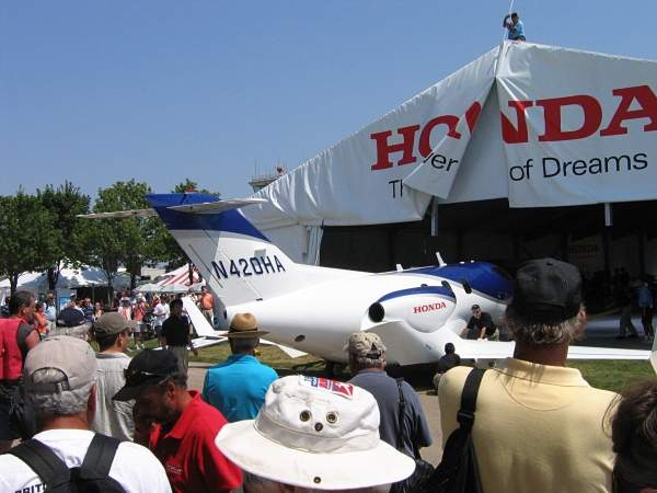 The HA-420 was unveiled to the global audience at the EAA Venture Air Show held in Oshkosh, Wisconsin, in July 2005. Image courtesy of Michael Pereckas.