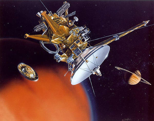 An artist's conception of the Huygens probe separating from the spacecraft to reach Titan.
