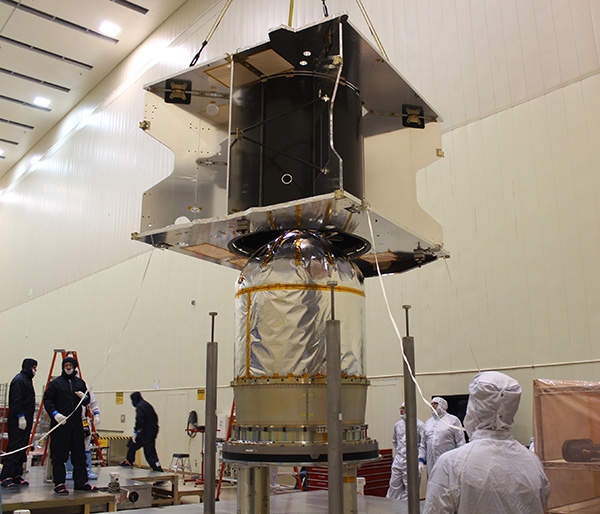 The core structure of MAVEN was integrated with the hydrazine propellant tank. Image courtesy of Lockheed Martin.