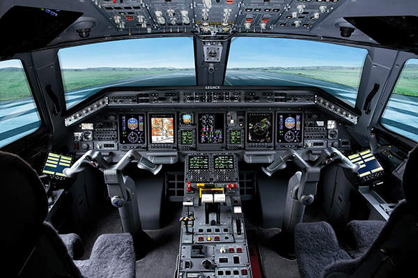 The flight deck of Legacy 650 is equipped with a Honeywell Primus Elite avionics suite. Image courtesy of Embraer.