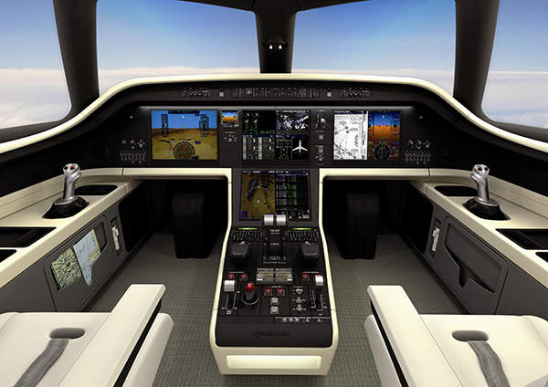 The aircraft is fitted with a Pro Line Fusion integrated avionics suite developed by Rockwell Collins. Image courtesy of Embraer Executive Jets.