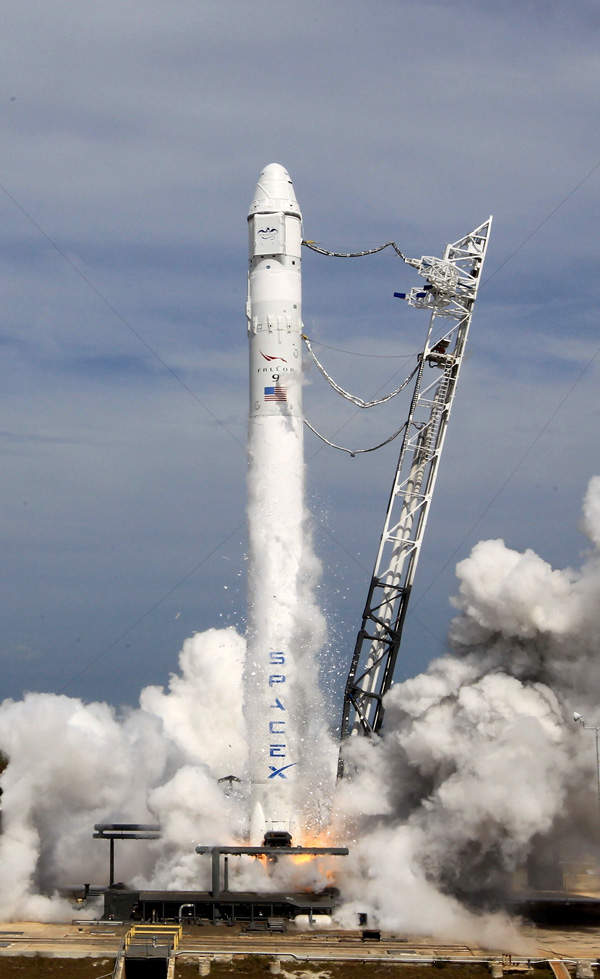 The Dragon was launched into the low earth orbit on the Falcon 9 vehicle. Image courtesy of SpaceX.