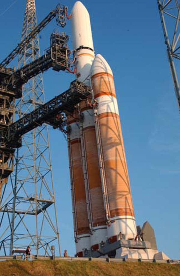 The Delta IV heavy launch vehicle readied for launch at the CCAFS.