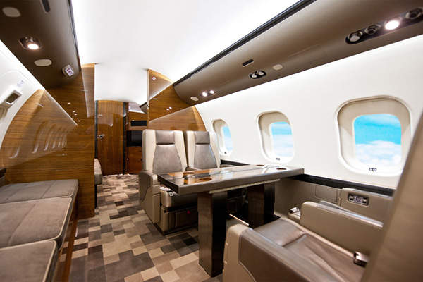 The spacious cabin of the Global 6000 can accommodate eight to 19 passengers.