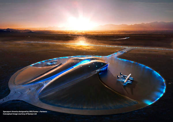 Spaceport America is situated 140km north of El Paso in Sierra County, New Mexico. Image courtesy of URS / Foster + Partners.